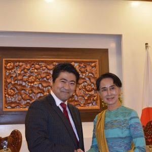 アン・サン・スー・チー国家最高顧問兼外相と会談しました。